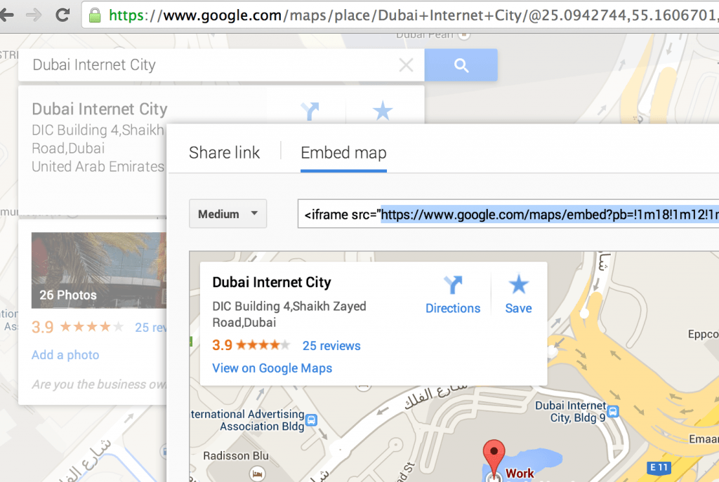 How to optain Google Map Link in order to use in button ShortPoint